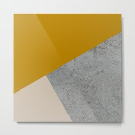 MUSTARD NUDE GRAY GEOMETRIC COLOR BLOCK Metal Print