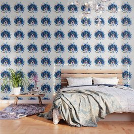 The cavalier king Charles Spaniel portrait in blue Wallpaper