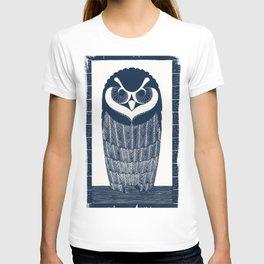 Owl Art Nouveau Style Blue T-shirt