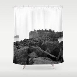 Foggy Harbor North Shore 2 BW Shower Curtain