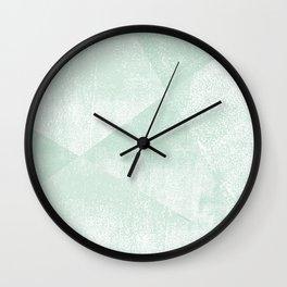 Mint Green and White Geometric Triangles Lino-Textured Print Wall Clock
