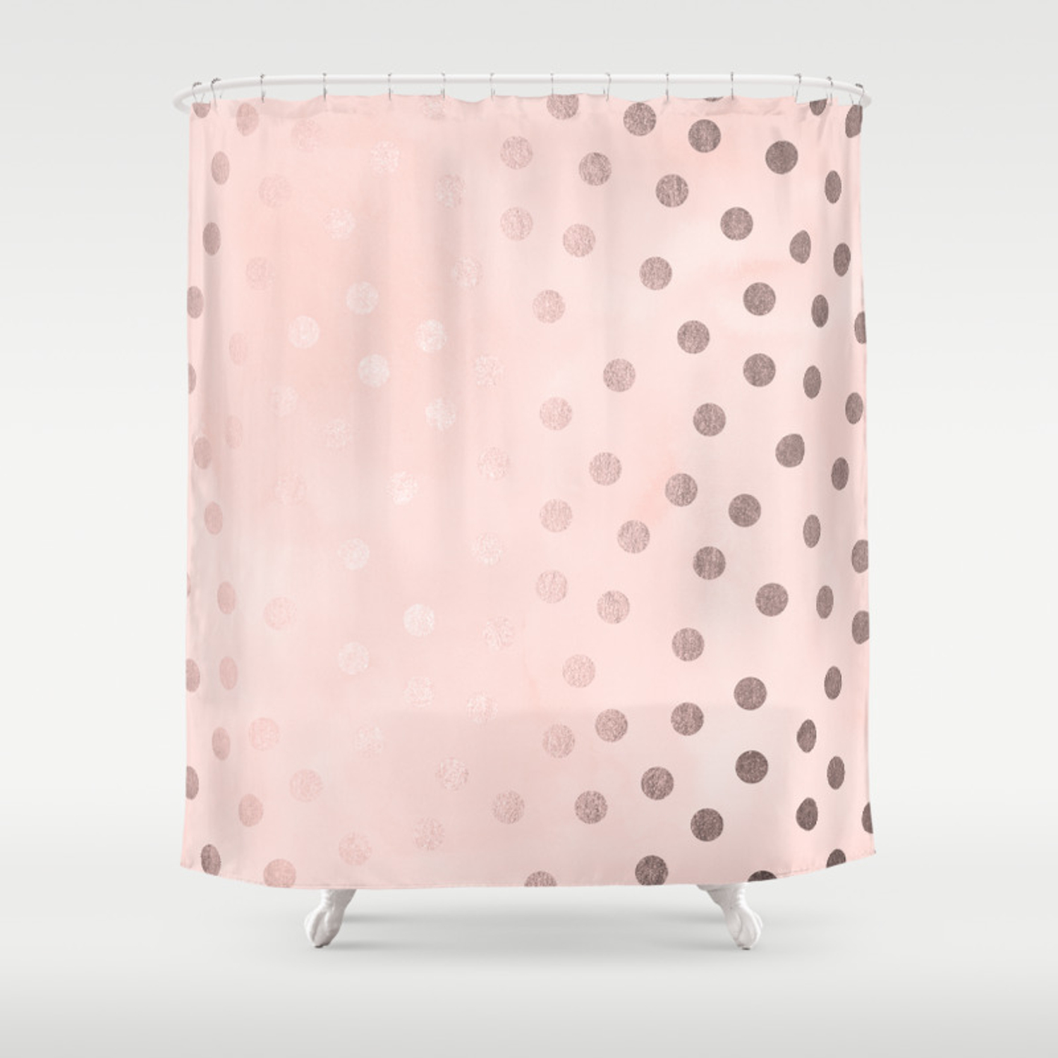 Rose Gold Pastel Pink Polka Dots Shower Curtain By Naturemagick Society6
