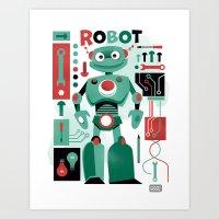 Robot Parts Art Print