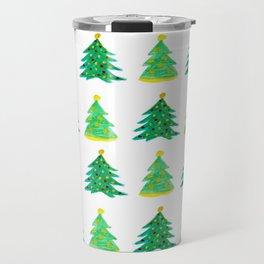 Christmas Tree Pattern Watercolor (Color) Travel Mug