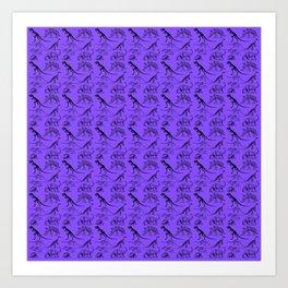 Vintage Museum Animals | Dinosaurs & Skeletons on Purple | Surface Pattern Repeat Art Print