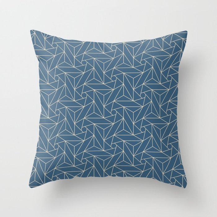 Beige & Blue Abstract Triangle Geometric Mosaic Pairs To 2020 Color of the Year Chinese Porcelain Throw Pillow