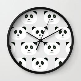 Panda Love Gray Wall Clock