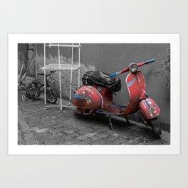 Red Rusty Vintage Vespa in Bologna  Art Print