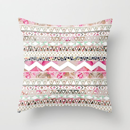 Aztec Spring Time!   Girly Pink White Floral Abstract Aztec Pattern Throw Pillow