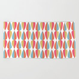 Retro 1970s Vintage Inspired Teardrop Pattern in Turquoise Orange Pink and Golden Yellow Beach Towel