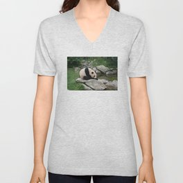 PANDA BEAR ON ROCK Unisex V-Neck