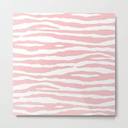 Blush Pink & White Animal Print Metal Print