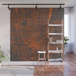 Columbus map orange Wall Mural