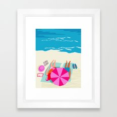 Toasty - memphis throwback minimal retro neon beach surfing suntan waves ocean socal pop art Framed Art Print