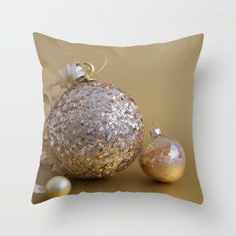 Three Golden Christmas Balls, Ornaments on Golden Background Throw Pillow
