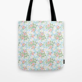Pink Dogroses on Sky Blue Tote Bag