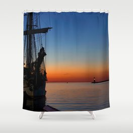 Blue hour in the harbor Shower Curtain