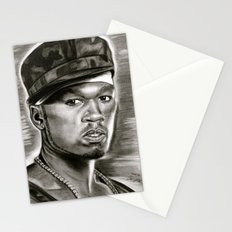 50 Cent in Black and White Stationery Cards