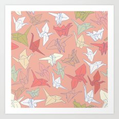 Paper Cranes- Peach Art Print