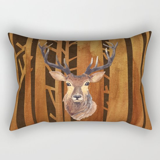 Proud deer in forest 1- Watercolor illustration Rectangular Pillow