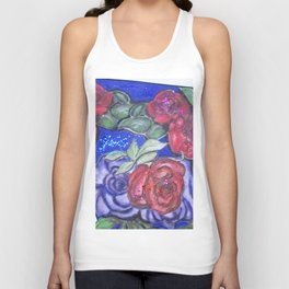 Roses And Blue Unisex Tank Top