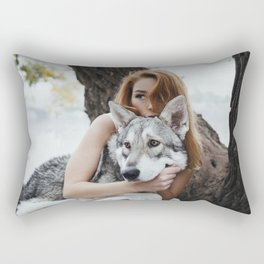 Girl wolf Rectangular Pillow