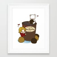 hetalia Framed Art Prints featuring Hetalia - Canada Loves Timmies  by BlacksSideshow