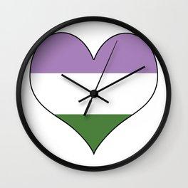 Genderqueer Heart Wall Clock