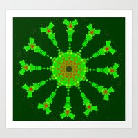 Lovely Healing Mandalas in Brilliant Colors: Hunter Green, Bright Green, Red, and Yellow Art Print