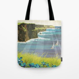 Ireland, Cliffs of Moher - Vintage Style Travel Poster Tote Bag
