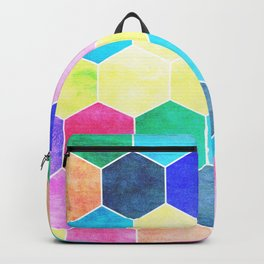Honeycombs print, colorful hexagons Backpack