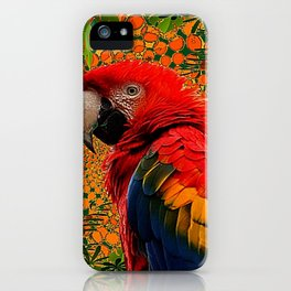 RED JUNGLE MACAW PATTERN ABSTRACT iPhone Case