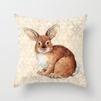 rabbit Throw Pillows featuring Rabbit by Patrizia Ambrosini