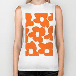 Orange Retro Flowers White Background #decor #society6 #buyart Biker Tank