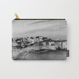 Carvoeiro town and beach in Lagoa, Algarve, Portugal. Black and White. Carry-All Pouch