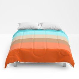 Modern orange aqua sand color block stripes Comforters