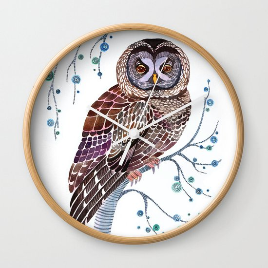 lacy owl Wall Clock