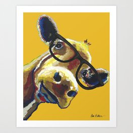 Yellow Glasses Cow, Cow up close glasses Art Print