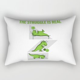 The Struggle is Real Funny T-Rex Gym Rectangular Pillow