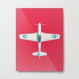 P51 Mustang Fighter Aircraft - Crimson Metal Print