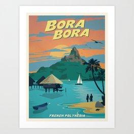 Vintage travel poster-French Polynesia-Bora Bora. Art Print