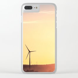 Windmills and golden sunset. Clear iPhone Case