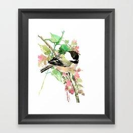 Chickadee and spring blossom Framed Art Print