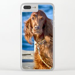 Setter dog on the pier Clear iPhone Case