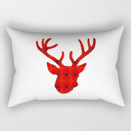 Plaid Deer Head: Red Rectangular Pillow