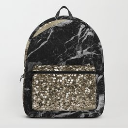 Shimmering golden chevron black marble Backpack
