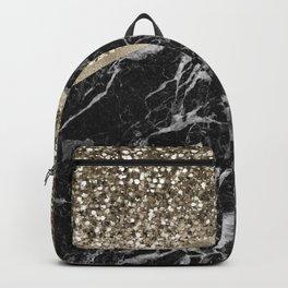 Shimmering golden chevron black marble Backpack
