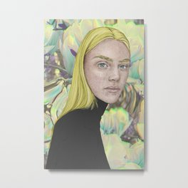 Women portrait neon yellow flower background Metal Print