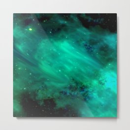 Teal Blue Indigo Sky, Stars, Space, Universe, Photography Metal Print