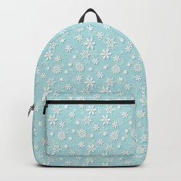 Robin's Egg Aqua Blue Christmas Snow Flakes Backpack